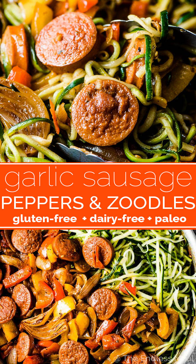 SAVE FOR LATER! This crazy delicious Garlic Sausage and Peppers recipe is an updated and healthy version of an easy to make family favorite. Grimm's Garlic Sausage is pan-fried with lots of peppers, onions, and tomatoes then served over zoodles. You could easily serve the sauce over spaghetti, rice, or cauliflower rice to switch things up. | gluten-free + dairy-free + paleo | #theendlessmeal #garlicsausage #sausagepeppers #sausage #sausagerecipes #glutenfree #paleo #dairyfree #grimmsfinefoods