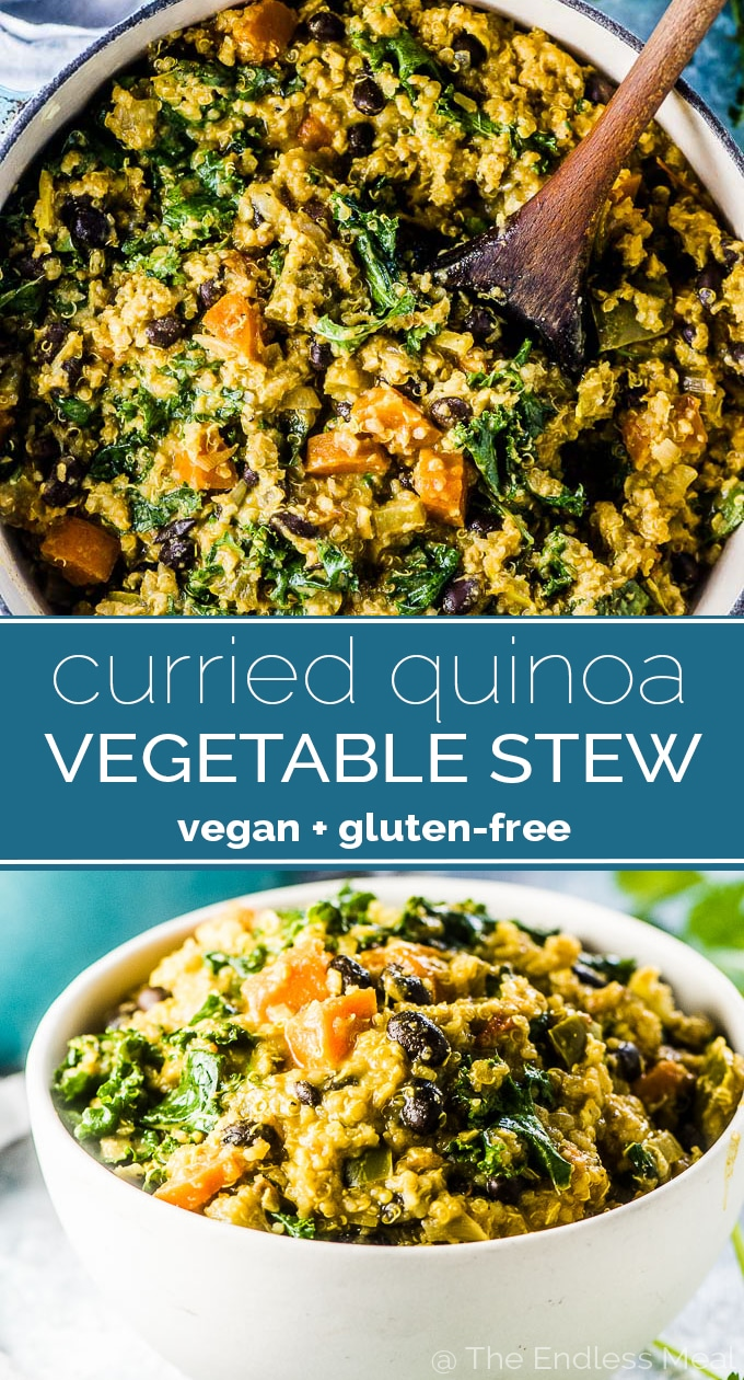 SAVE FOR LATER! Curried Quinoa Vegetable Stew is an easy to make and hearty vegan dinner recipe. It's loaded with veggies and quinoa and dotted with black beans and has tons of flavor. It is my favorite vegan stew recipe! | gluten-free + vegan | #theendlessmeal #stew #veganstew #vegan #veganrecipe #vegetarian #vegetarianstew #quinoa #glutenfree #meatlessrecipes #fallrecipes #healthyrecipes #curry #kale