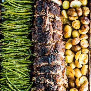 Sheet Pan Ribs with green beans on one side and potatoes on the other.
