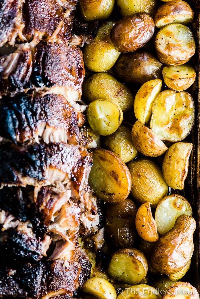 Roasted mini potatoes beside the Oven Baked Ribs.