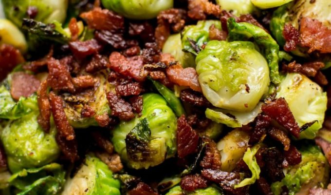 Easy Brussels Sprouts + Bacon Recipe by Salt and Lavender | The 21+ Best Healthy Fall Comfort Food Recipes