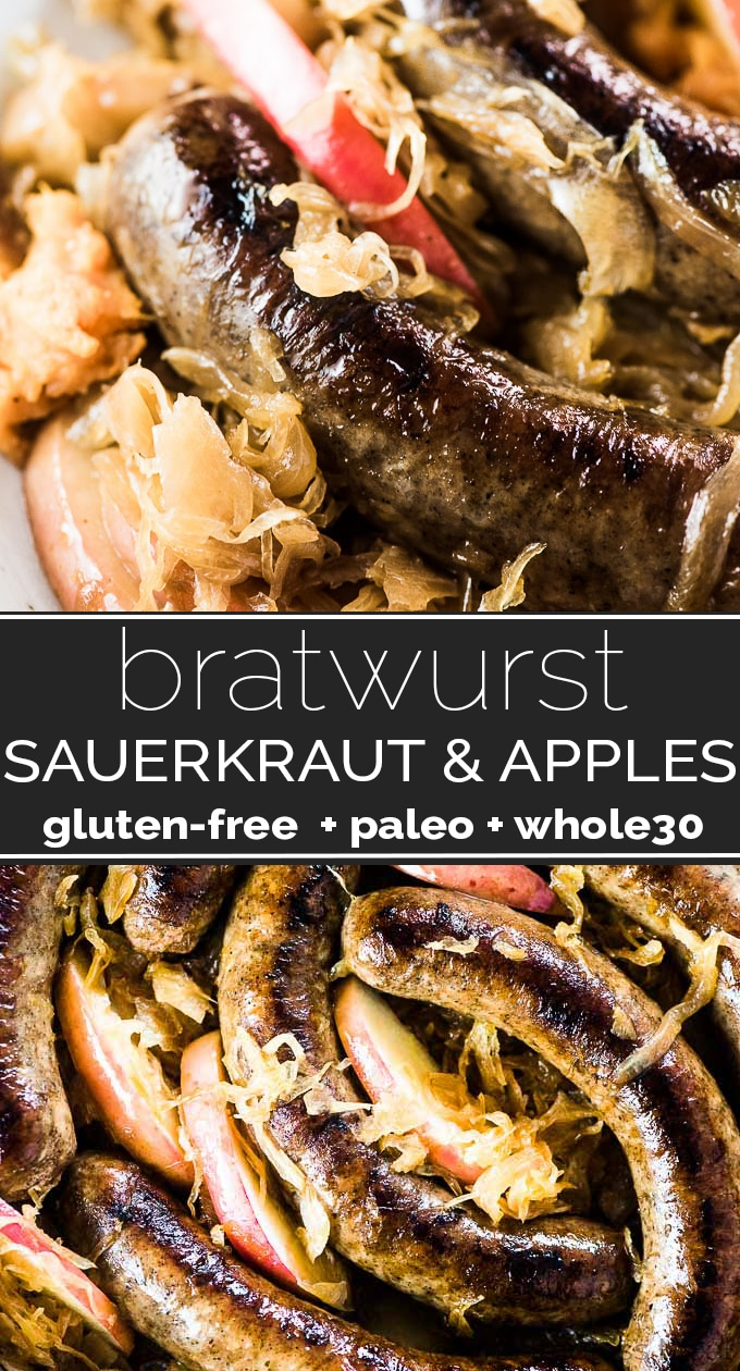 SAVE FOR LATER! Bratwurst and Sauerkraut is the ultimate autumn comfort food recipe. The brats are browned in a pan then stewed with sauerkraut, and apple juice. Apple slices are popped in at the end for a touch of sweetness. This traditional German recipe is a personal family favorite. | gluten-free + paleo + Whole30 | #theendlessmeal #bratwurst #sauerkraut #german #comfortfood #paleo #whole30 #glutenfree
