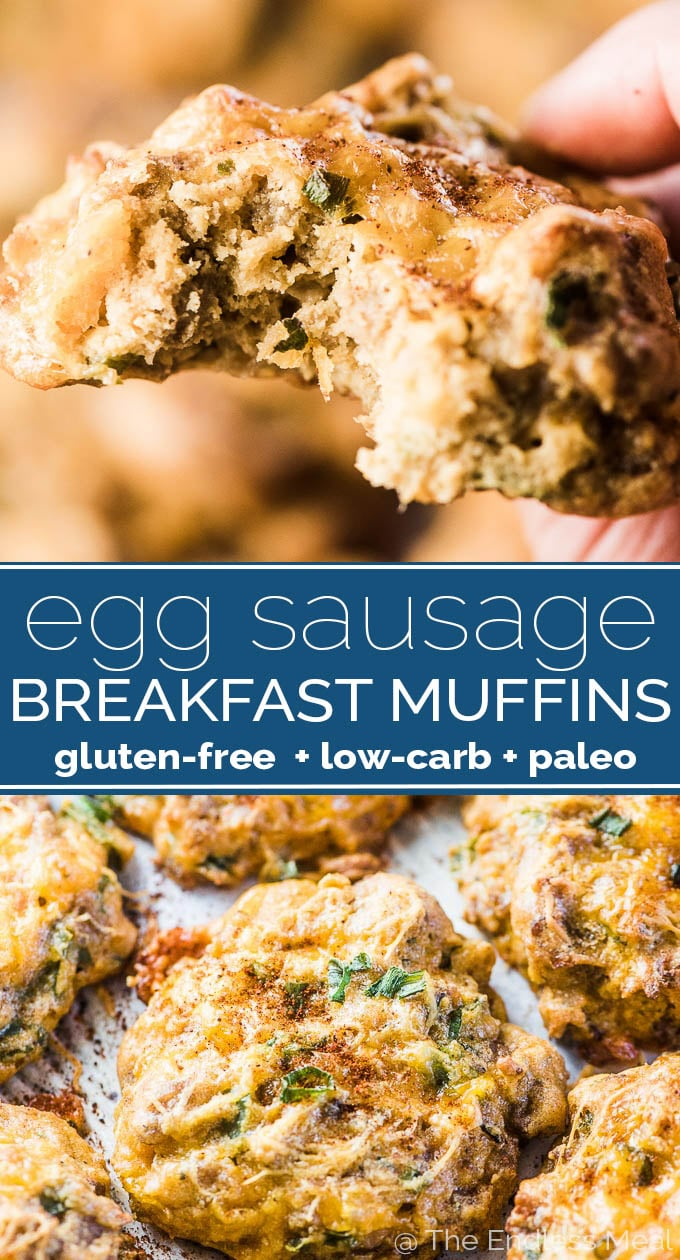 SAVE FOR LATER! Egg Sausage Breakfast Muffins are an easy to make and healthy way to start your day. Make a batch on the weekend then take one to go on your way out the door on busy weekday mornings. | gluten-free + low-carb + paleo | #theendlessmeal #breakfast #brunch #mealprep #eggs #sausages #muffins #eggmuffins #sausagemuffins #keto #lowcarb #glutenfree #paleo #WorldEggDay #healthyrecipes