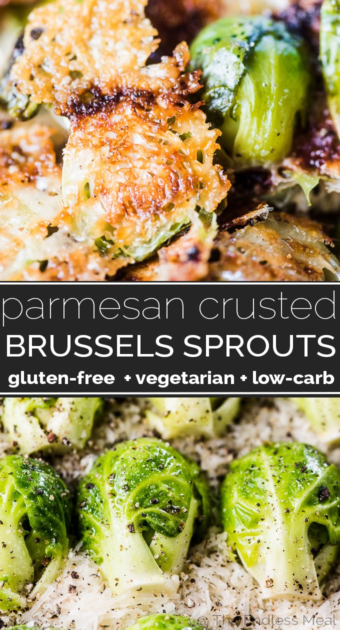 SAVE FOR LATER! Parmesan Brussels Sprouts are THE BEST ever! They're a super easy to make side dish that will make a brussels sprouts fan out of anyone. | vegetarian + gluten-free + low-carb | #theendlessmeal #brusselsprouts #parmesanbrusselsprouts #brusselsproutsrecipe #sidedish #vegetarian #glutenfree #lowcarb #thanksgiving #fall #fallrecipes #healthyrecipes parmesan #cheese #cheesybrussels