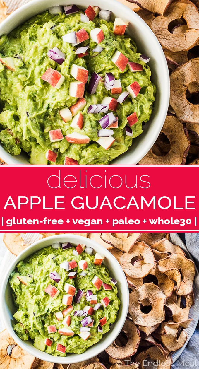 SAVE FOR LATER! Apple Guacamole is the perfect fall treat. Finely chopped crisp apples add a little crunch (similar to onions) and a touch of sweetness. It's delicious! | vegan + gluten-free + paleo + Whole30 | #guacamole #guacamolerecipe #apple #applerecipes #vegan #paleo #glutenfree #whole30 #veganrecipes #glutenfreerecipes #applechips #fallrecipes #autumnrecipes #healthyrecipes #dip #backtoschool #afterschoolsnack #snack