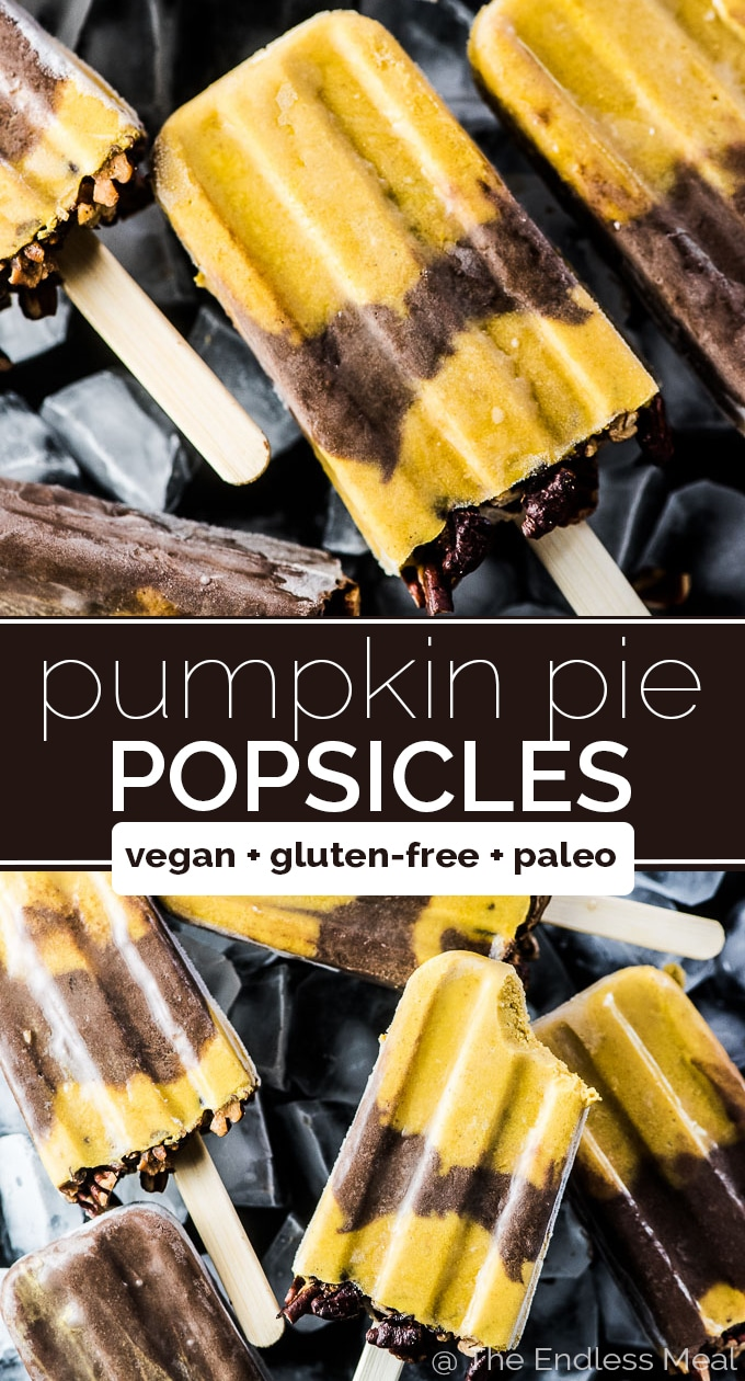 SAVE FOR LATER! Pumpkin Pie Popsicles layered with chocolate make the best healthy autumn treat. Just because the weather is getting cooler doesn't mean we need to stop eating icy desserts.  #theendlessmeal #paleo #vegan #glutenfree #dairyfree #refinedsugarfree #popsicles #pumpkin #pumpkinpie #pie #halloween #thanksgiving #healthydesserts #dessert #autumn #fallrecipes