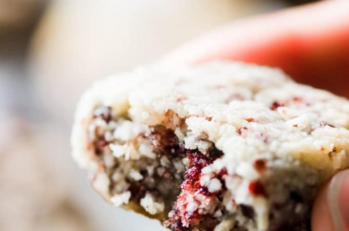 A hand holding one of the Cranberry Coconut Macaroons with a bite out of it.