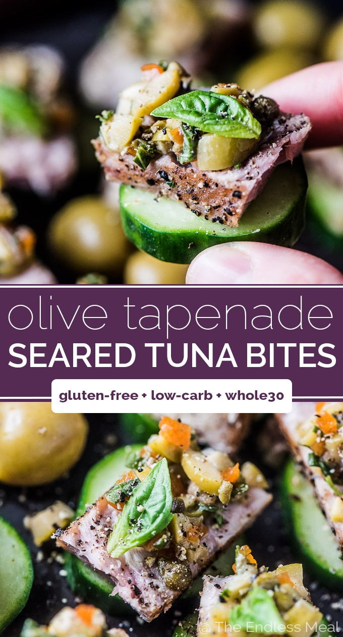 SAVE FOR LATER! This pan seared tuna is topped with a tapenade made with Spanish Manzanilla olives and served on a crunchy cucumber slice. It's a fancy looking but easy to make appetizer recipe! | gluten-free + paleo + Whole30 | #theendlessmeal #tuna #searedtuna #olives #olivesfromspain #manzanilla #tempanade #appetizer #partyfood #healthyrecipes