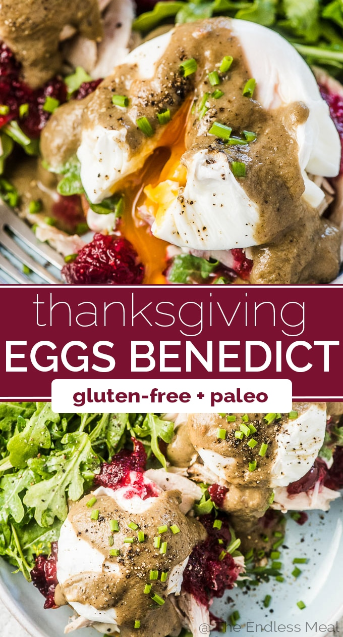 SAVE FOR LATER! Transform your Thanksgiving (or Christmas!) leftovers into Turkey Eggs Benedict. It's a healthy, delicious, and easy to make brunch recipe perfect for the day after the big feast! #theendlessmeal #turkey #eggs #eggsbenedict #brunch #breakfast #turkeyleftovers #thanksgivingleftovers #christmasleftovers #thanksgiving #christmas #glutenfree #paleo #healthyrecipes