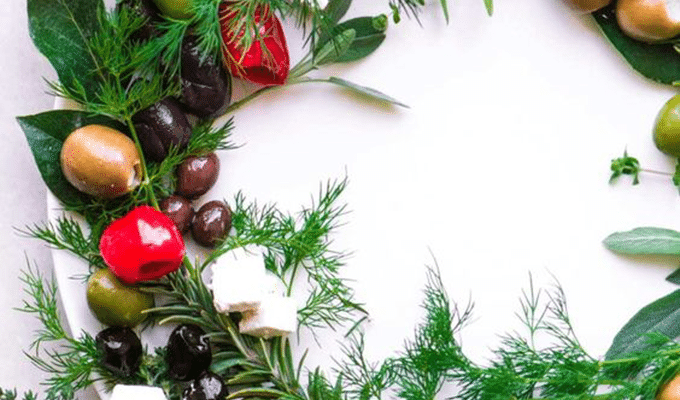 Festive Olive Wreath by The View from Great Island | The 21+ Best Healthy Holiday Appetizers