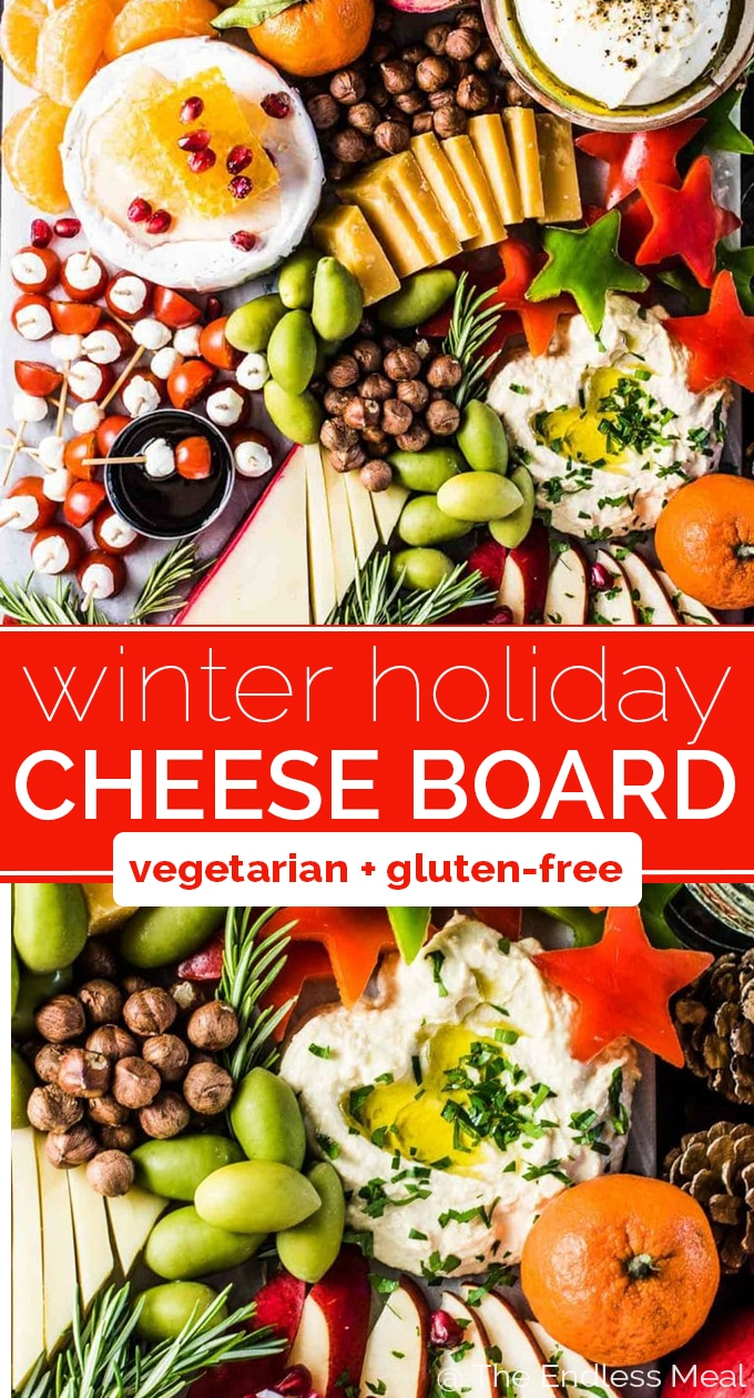 SAVE FOR LATER! No party should be without an epic Holiday Cheese Board. This one is super customizable and filled to the brim with winter favorites. It's so good that you won't even notice that it's a 100% gluten-free + vegetarian cheese platter! #theendlessmeal #cheese #cheeseboard #cheeseplate #cheeseplatter #christmas #christmasparty #party #winter #holidays #entertaining #wine #wineandcheese #vegetarian #glutenfree #VinhoVerde #AlwaysTheRightTime