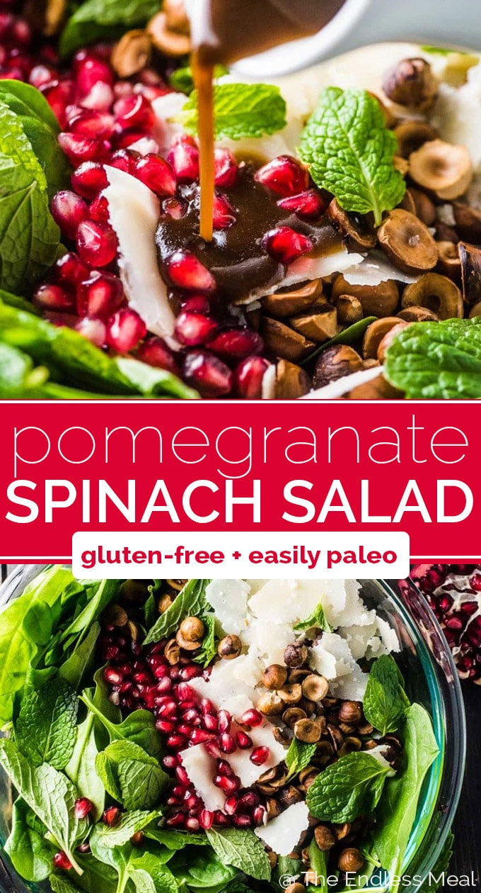 SAVE FOR LATER! This pretty Spinach Pomegranate Salad is the best winter salad. It's full of juicy pomegranate, toasted hazelnuts, and mint and tossed in a maple balsamic dressing. You will LOVE it! #theendlessmeal #salad #pomegranate #pomegranatesalad #spinach #spinachsalad #wintersalad #christmas #hazelnuts #christmassalad