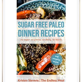 Sugar Free Paleo Dinner Recipes Cookbook cover on an ipad