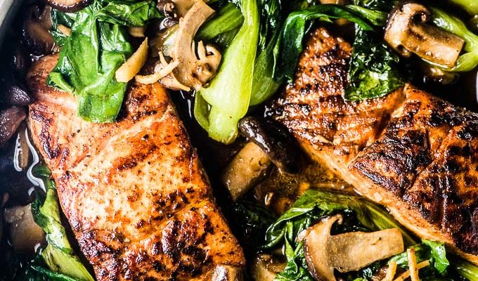 Shiitake Asian Salmon with Bok Choy from the Sugar Free Paleo Dinner Recipes Cookbook