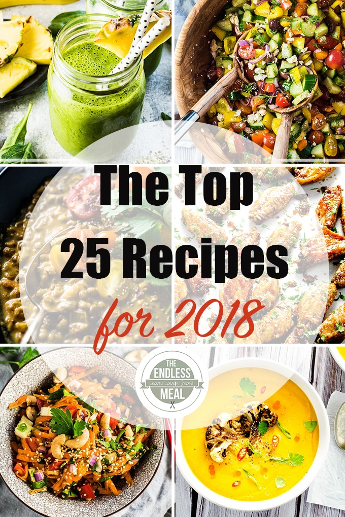 A collection of 6 pictures of the 25 top recipes on TEM in 2018.