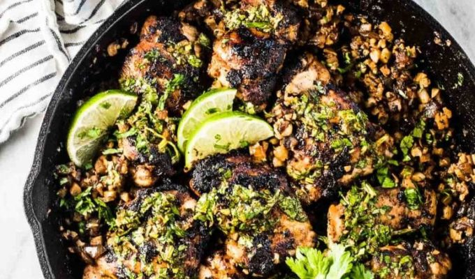 A cast iron pan with this cilantro lime chicken recipe.