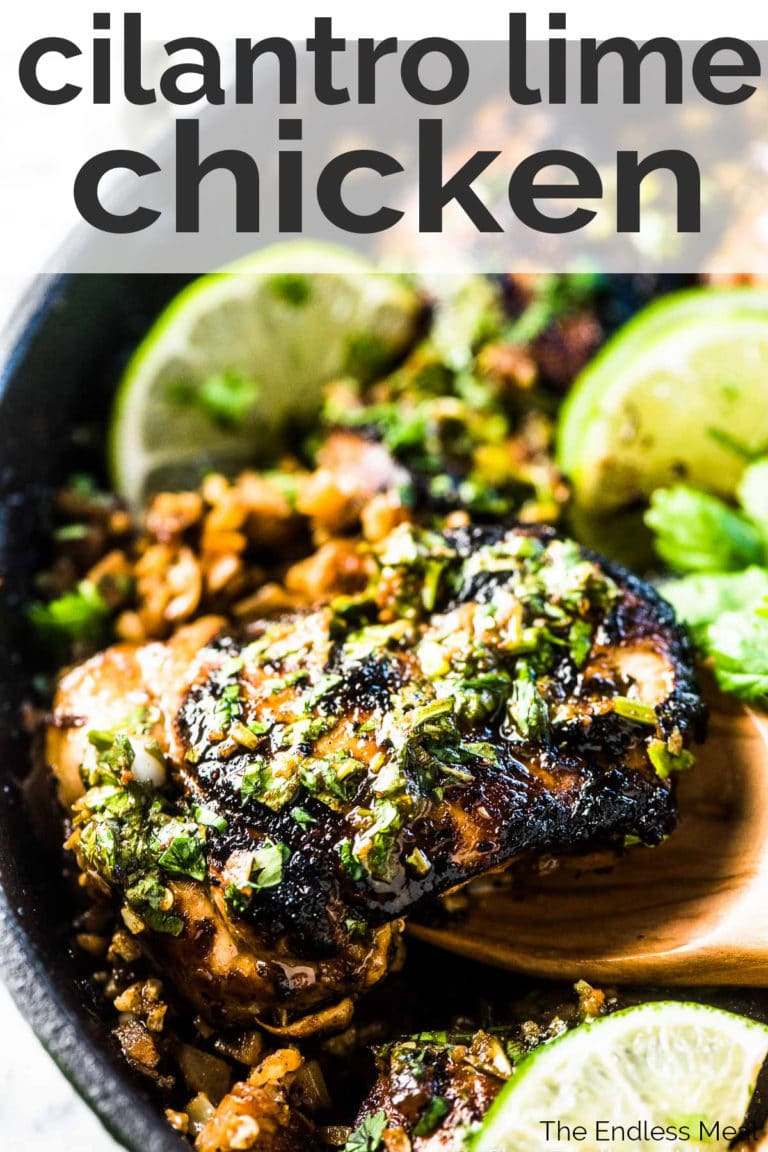 Cilantro lime chicken with the title on the picture.