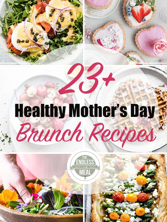 A collage of 6 of the 23 healthy monther's day brunch recipe pictures.