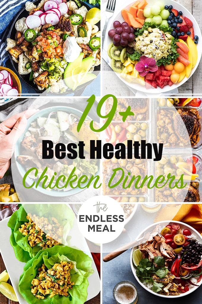 A collage of the best healthy chicken dinner recipes with the post title on the picture.