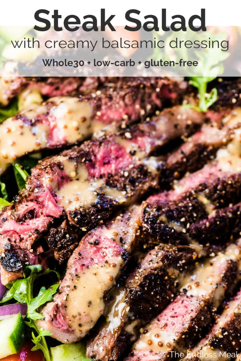 Steak Salad on a plate with balsamic vinaigrette over the top and the recipe title at the top of the picture.