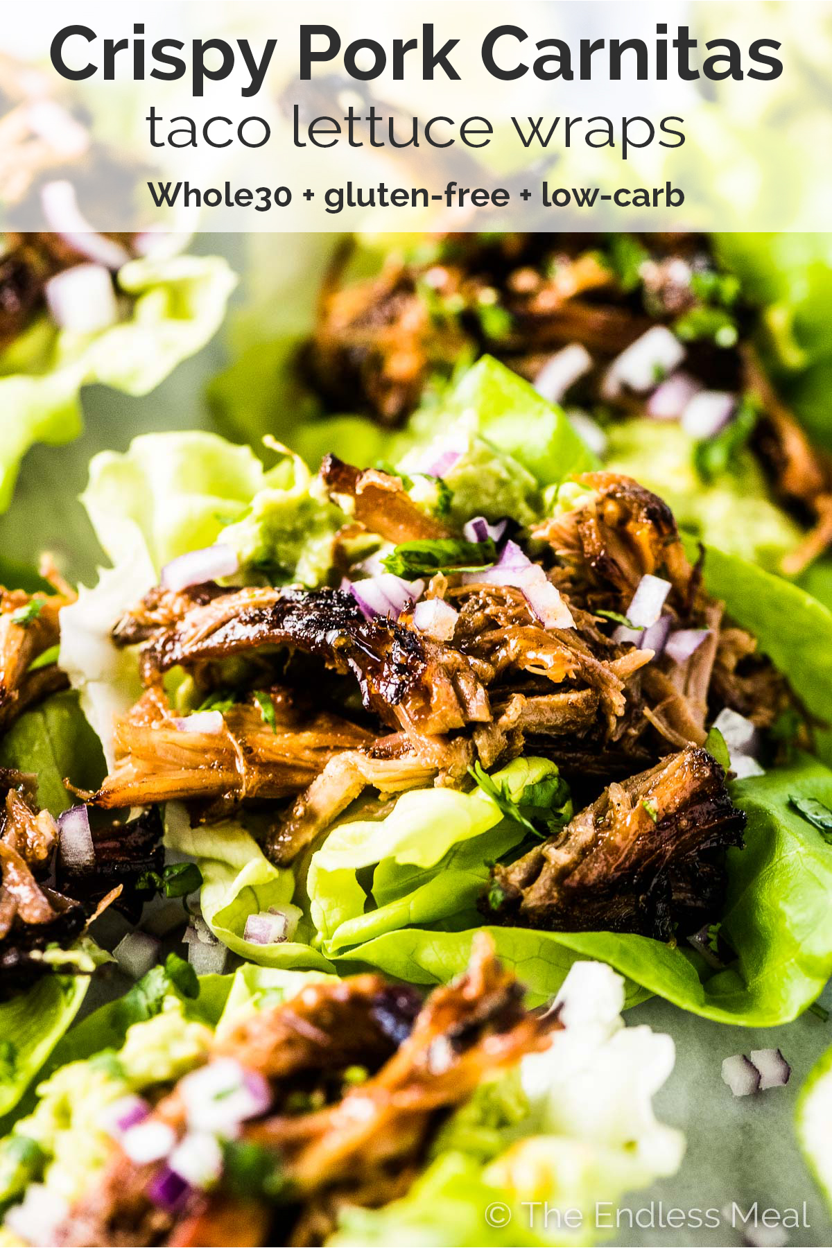 Pinterest image of carnitas taco lettuce wraps with the title on top of the picture.