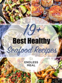 A collage of 6 of the best healthy seafood recipes with the post title on the picture.