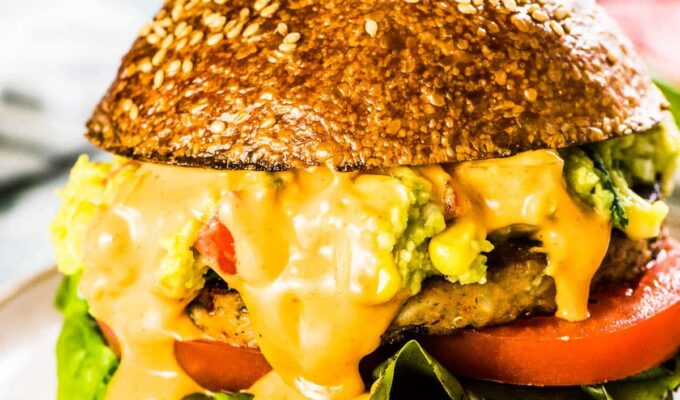 A southwest veggie burger loaded with Tex-Mex guacamole and lots of drippy chipotle aioli.
