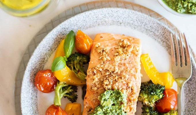 Baked Pesto Salmon by Sunkissed Kitchen | The 19+ Best Healthy Seafood Recipes