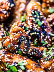 A closeup of the grilled wings.