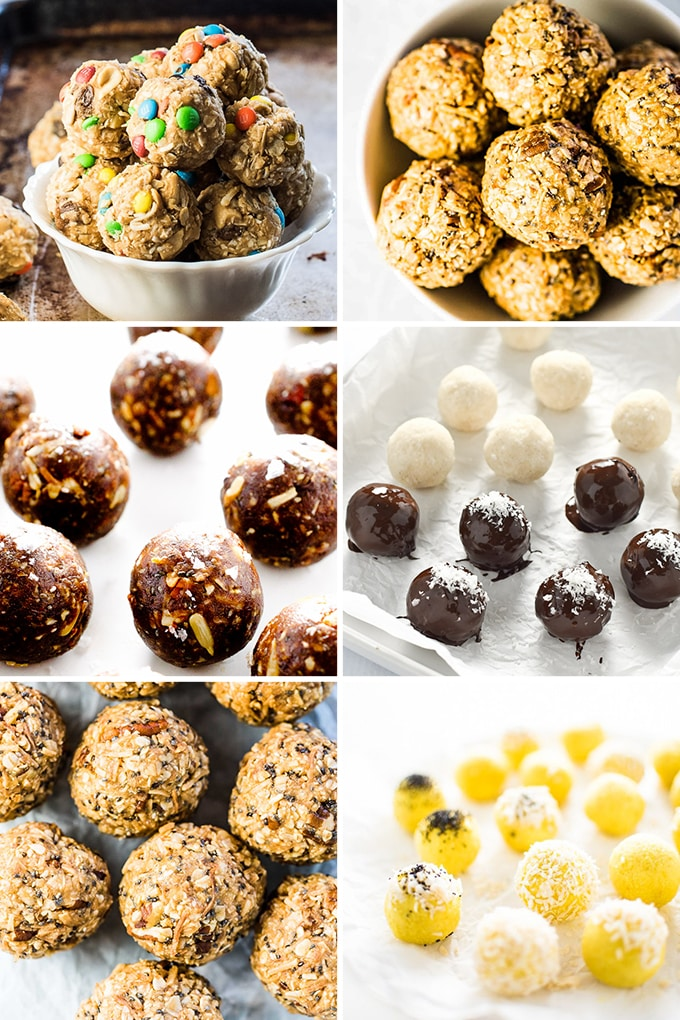 A collage of energy ball snack recipes.