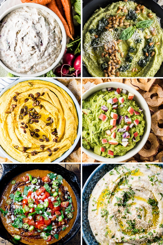 A collage of healthy snack dip recipes.
