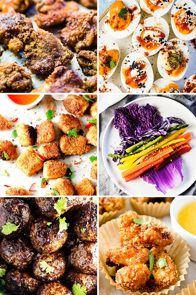 A collage of savory healthy snack recipes.