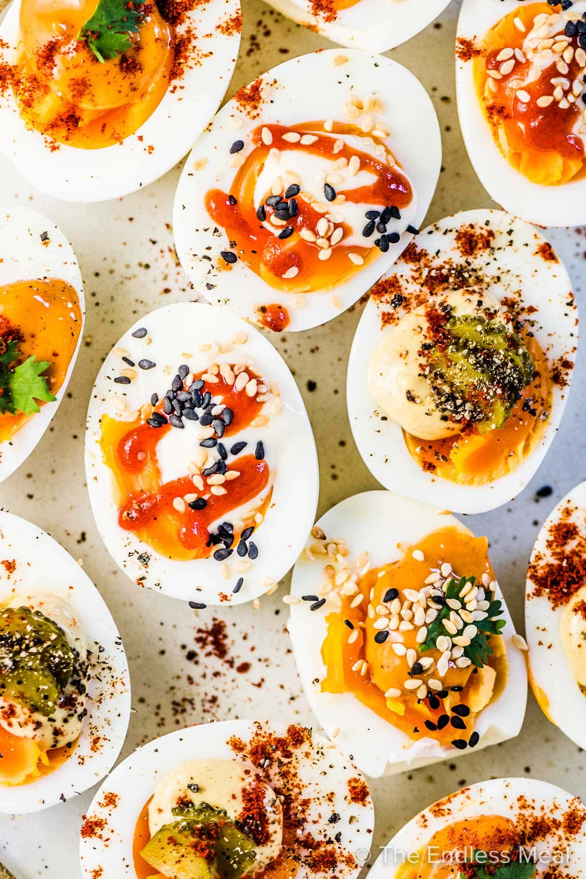 Easy deviled eggs (lazt deviled eggs) on a white plate.
