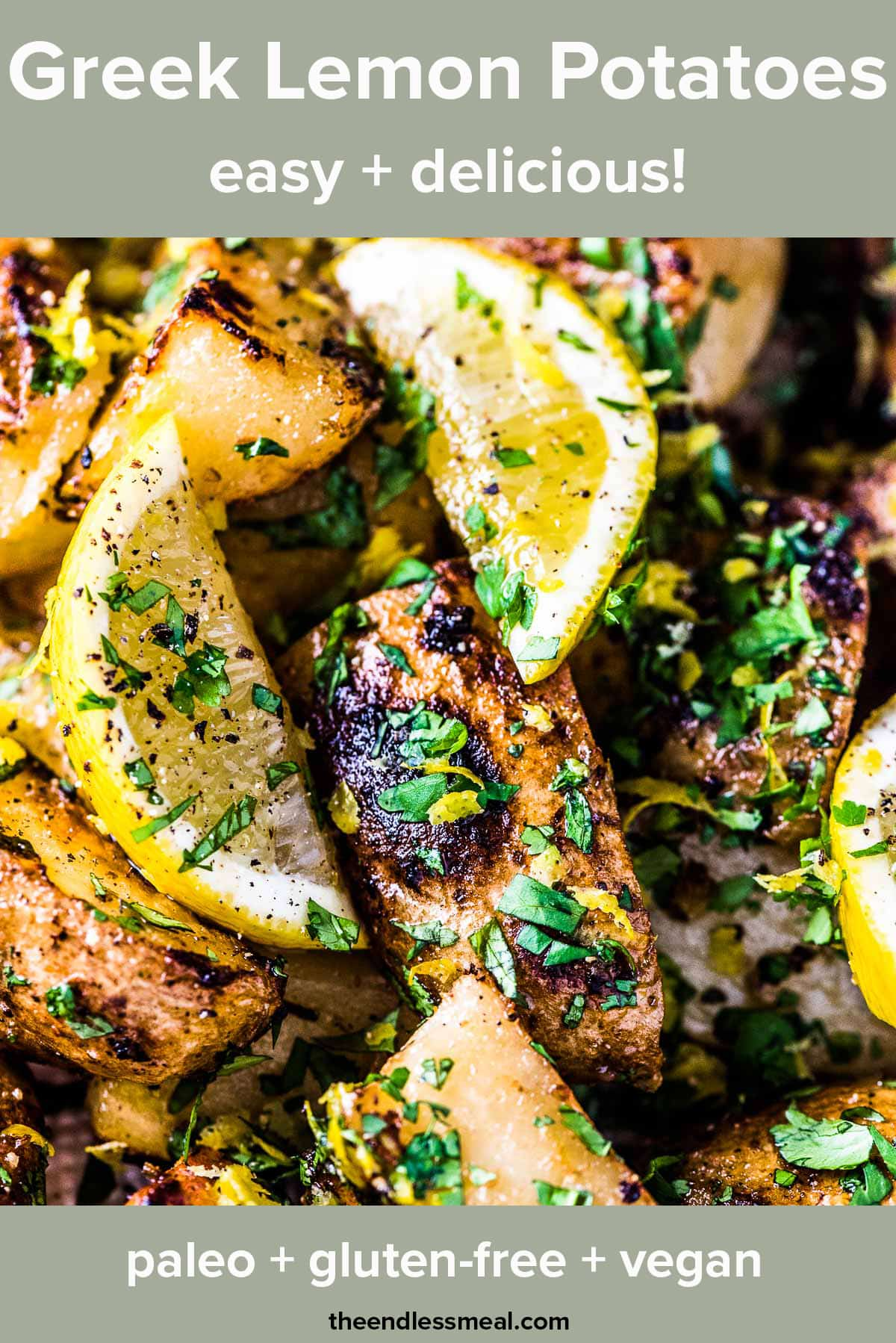 A close up of Greek lemon potatoes in a bowl with the recipe title on top of the picture.