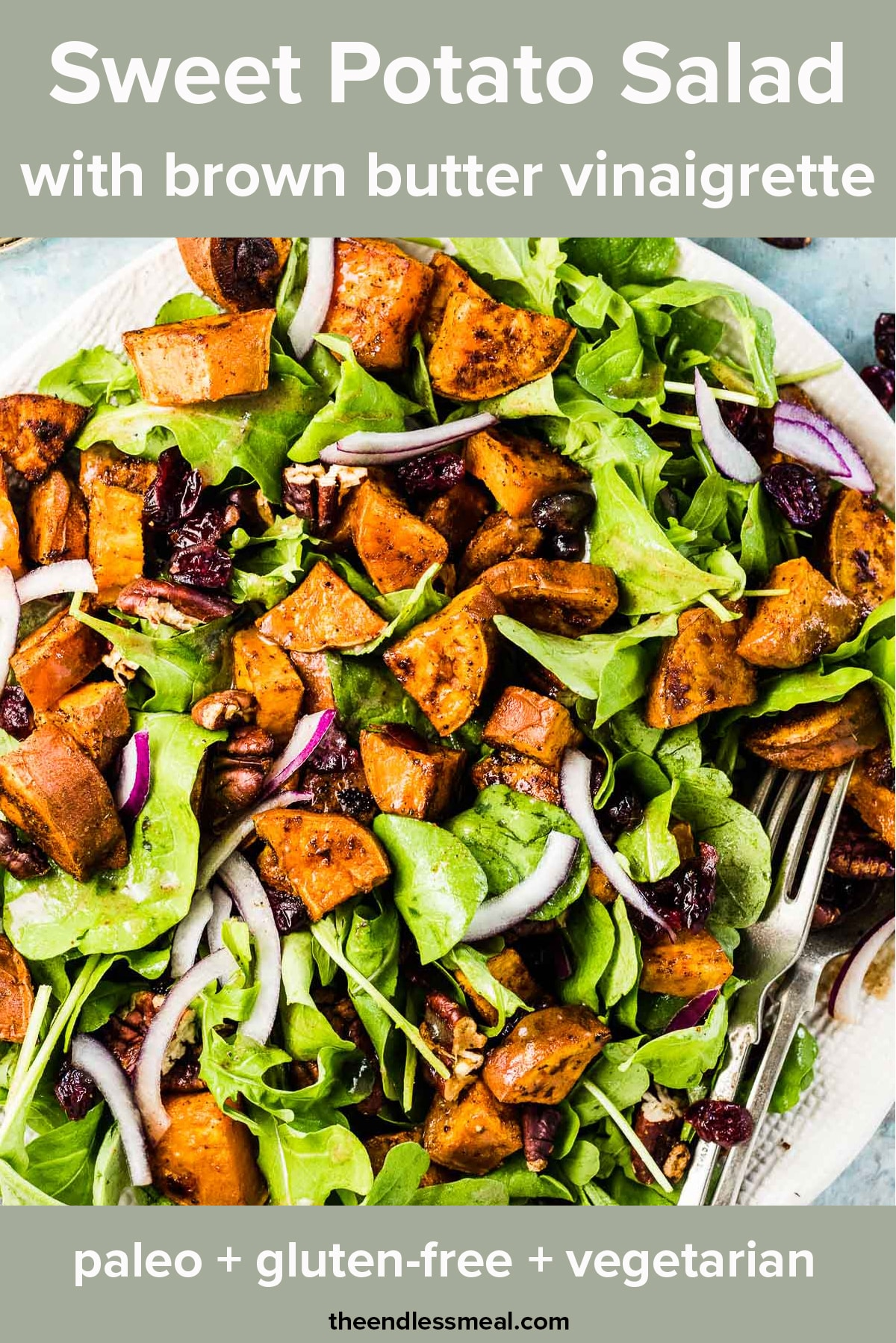 A plate filled with arugula and sweet potato salad with the recipe title on top of the picture.