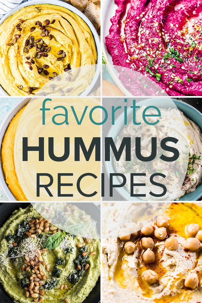 A collage of 6 of the best hummus recipes with the post tile on the picture.