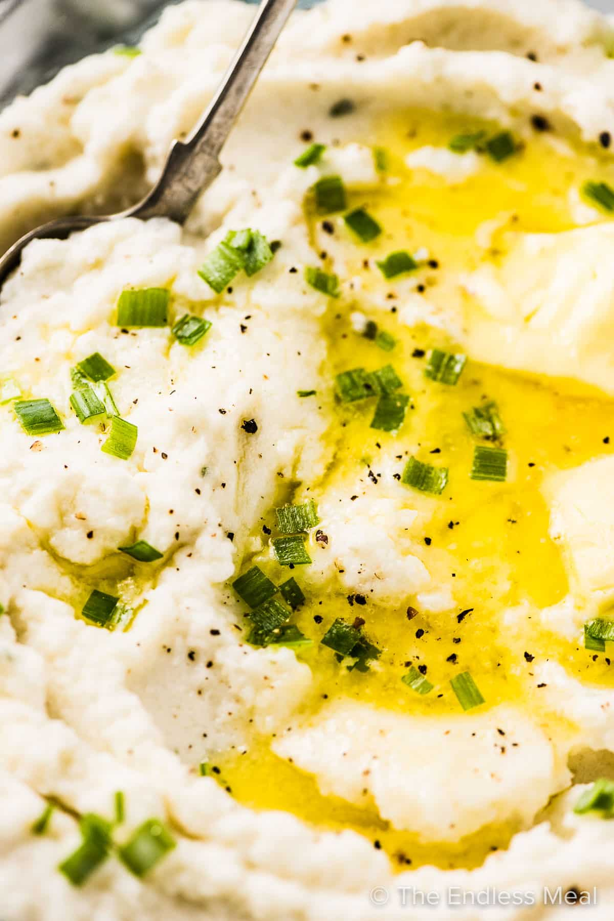 A close up of a butter pool in a bowl of mashed cauliflower potatoes.