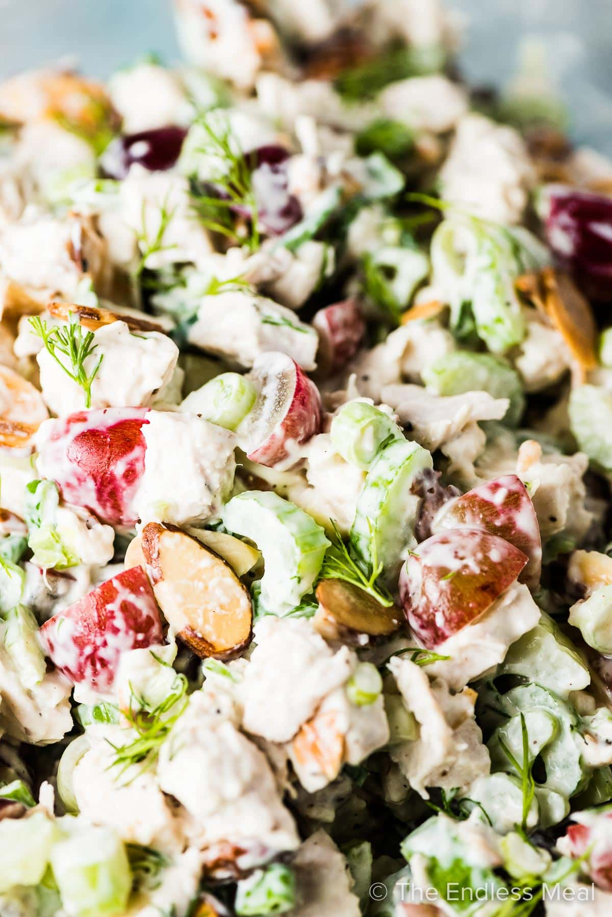 A close up of this keto chicken salad with grapes and almonds.