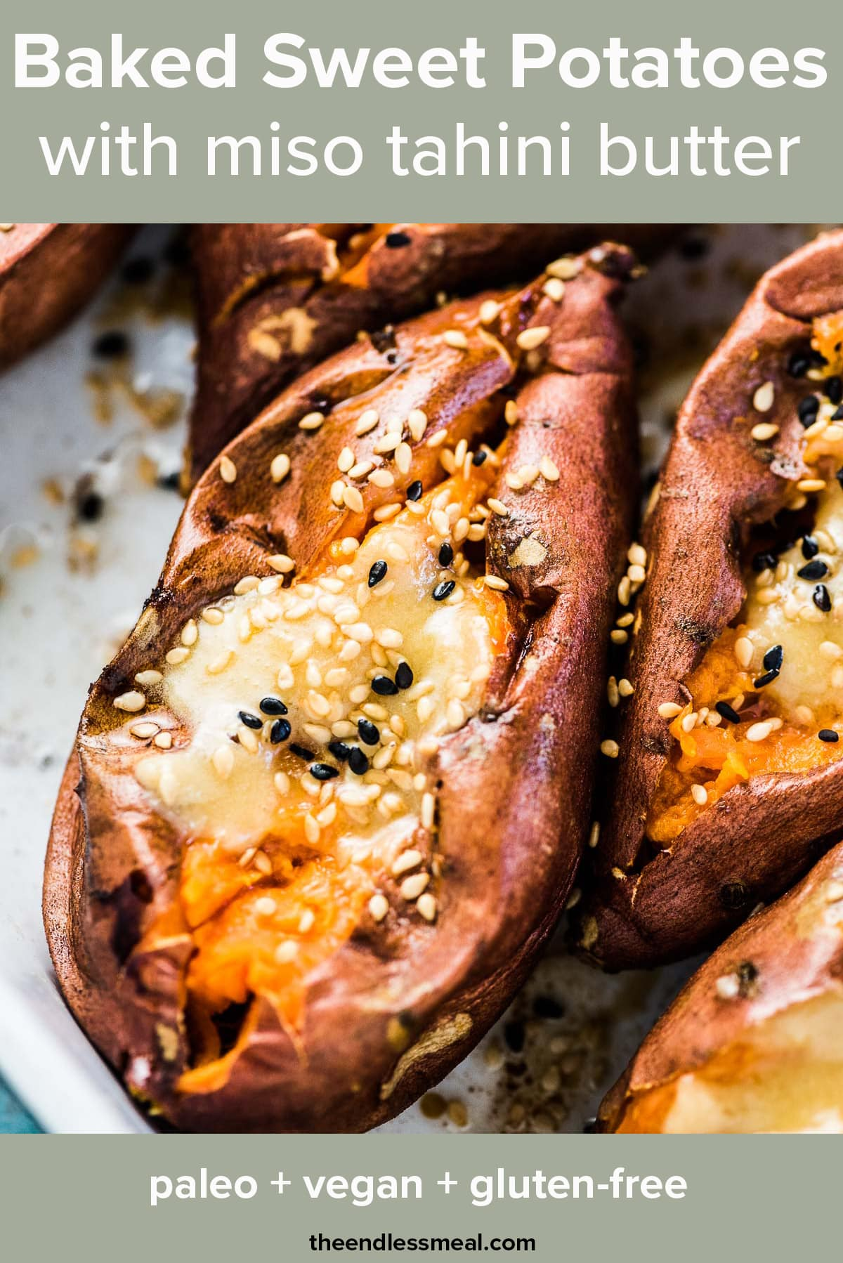 A close up of a baked sweet potato with tahini miso butter and the recipe title on top of the picture.