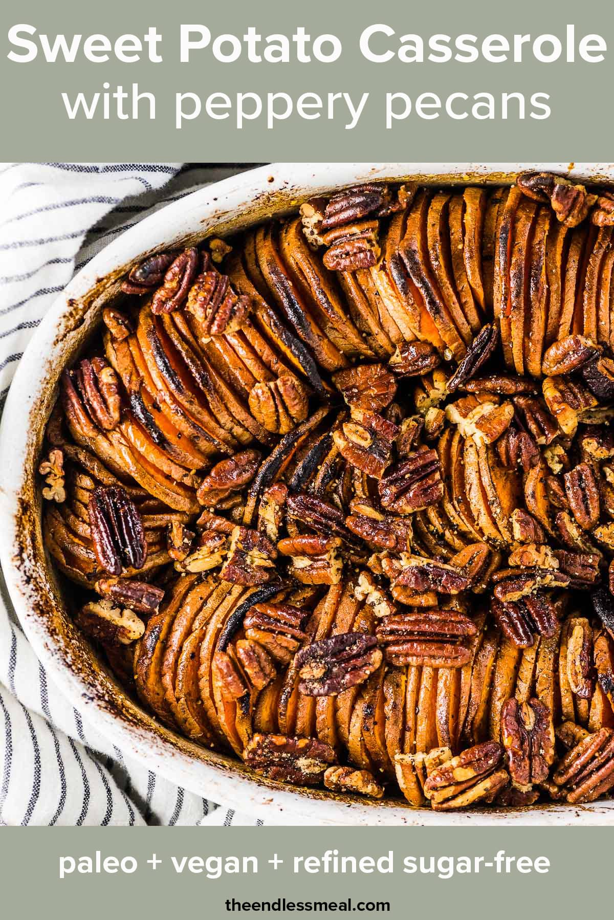 A close up of this pretty thanksgiving sweet potato casserole with the recipe title on top of the picture.