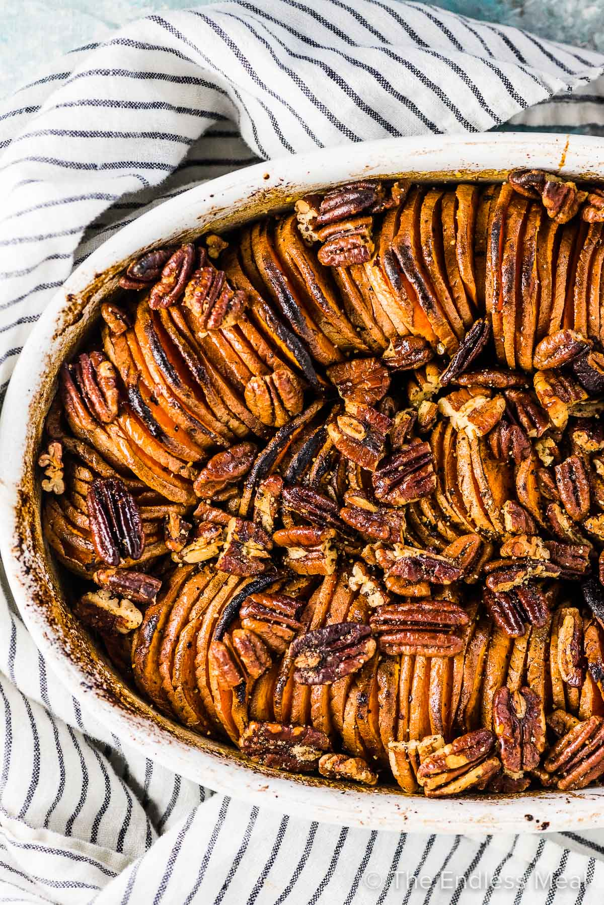 A close up of this pretty sweet potato casserole recipe.