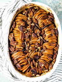 This pretty sweet potato casserole with peppery pecans over the top.