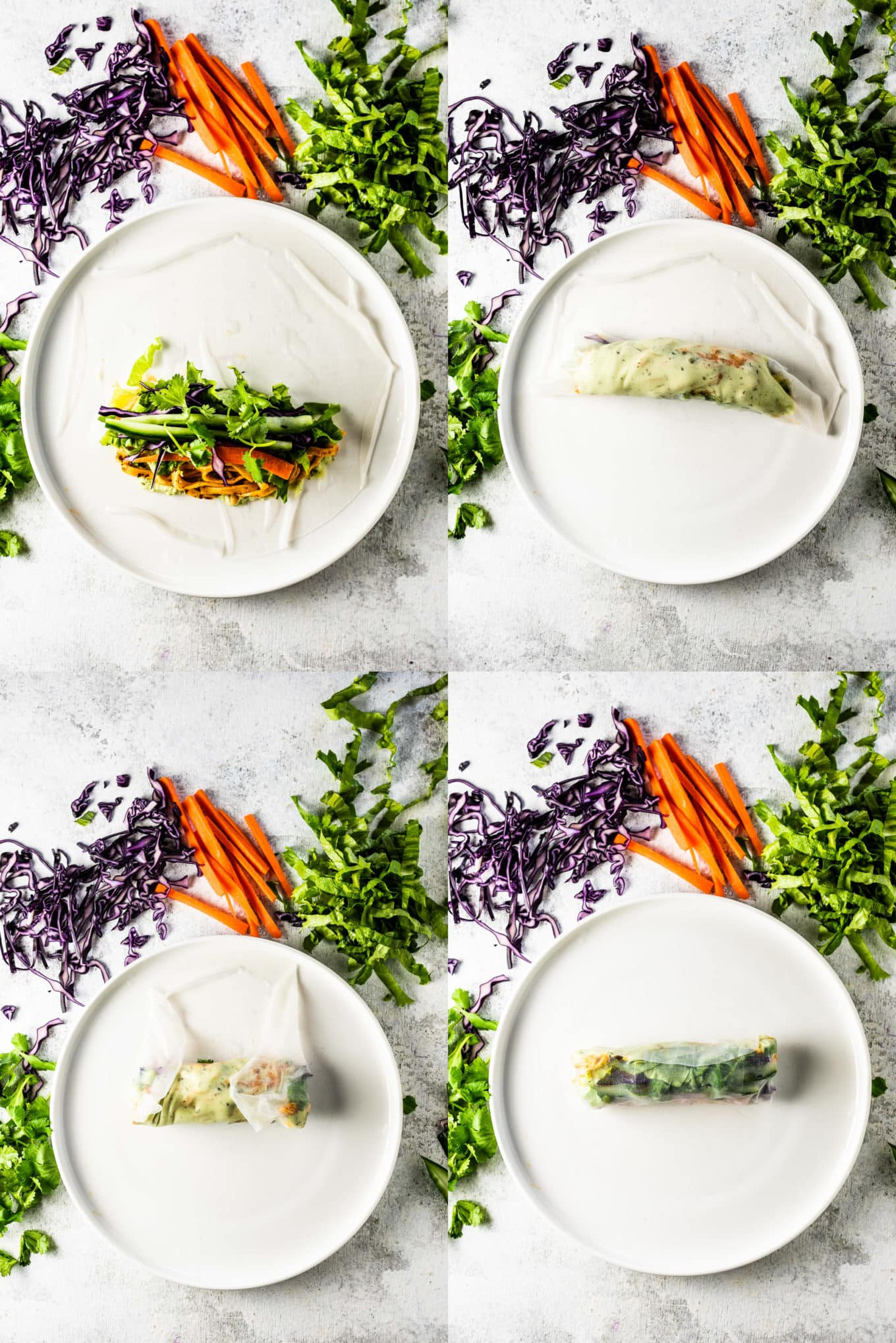 A collage of 4 pictures showing how to roll a spring roll.