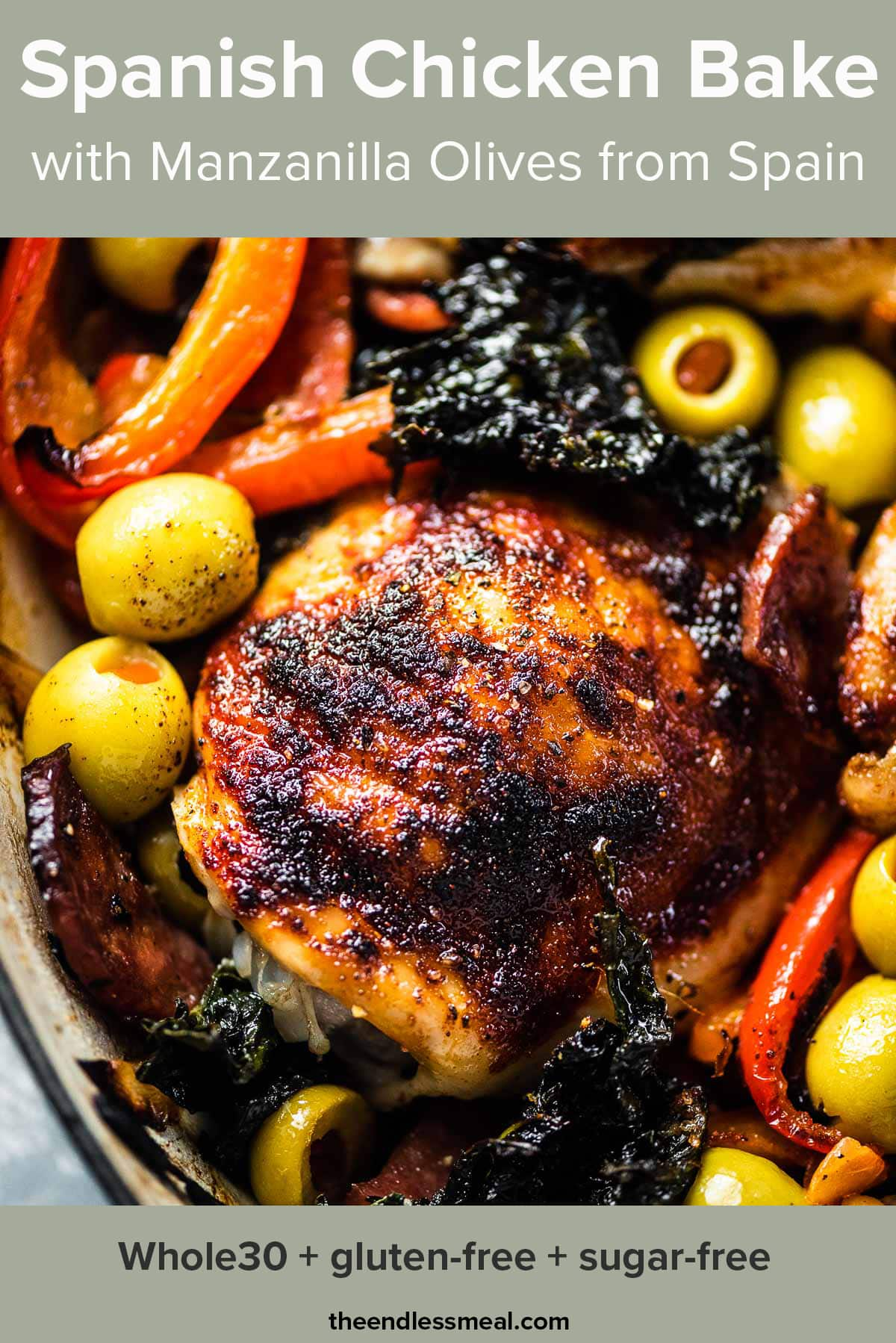 A close up of this Spanish chicken bake with the recipe title on top of the picture.