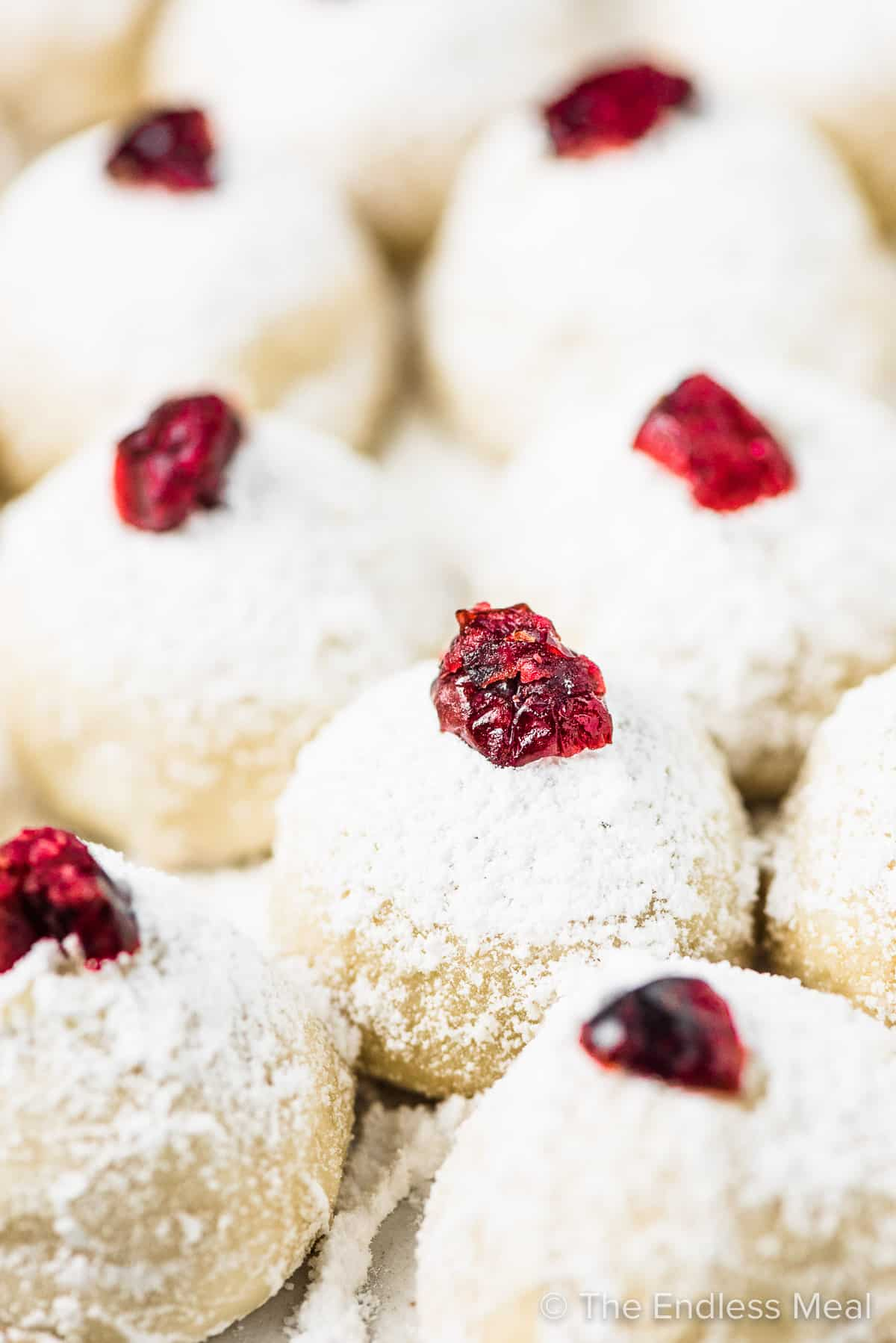 A closeup of snowball cookies topped with cranberries.