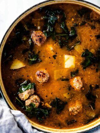 A big pot of Italian sausage soup.