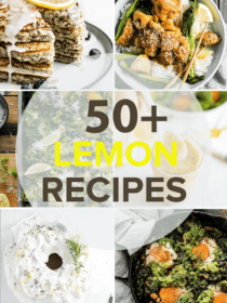 A grid of 6 of the best lemon recipes with the recipe post title over the top.