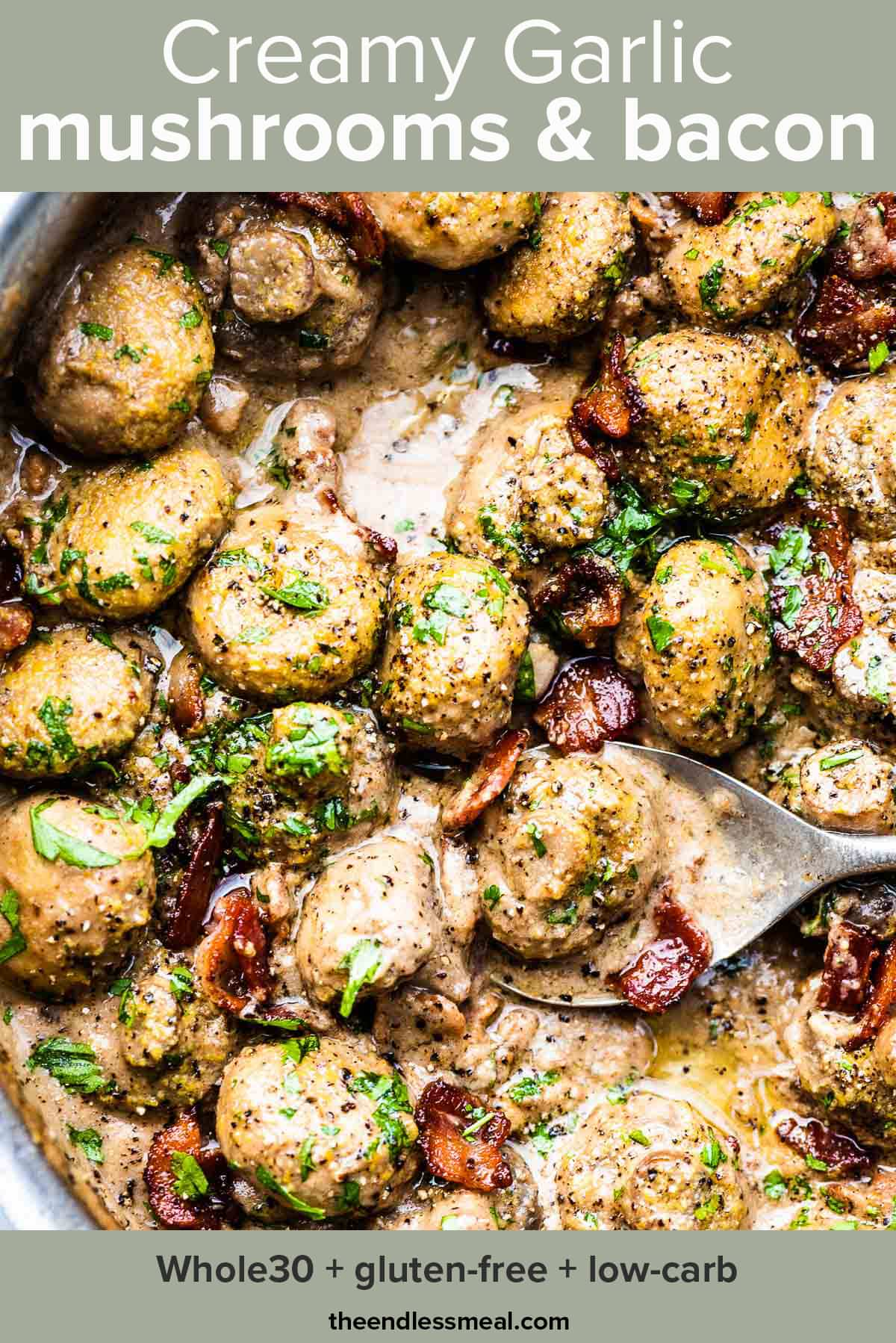 Creamy garlic mushrooms with bacon in a pan with the recipe title on top of the picture.