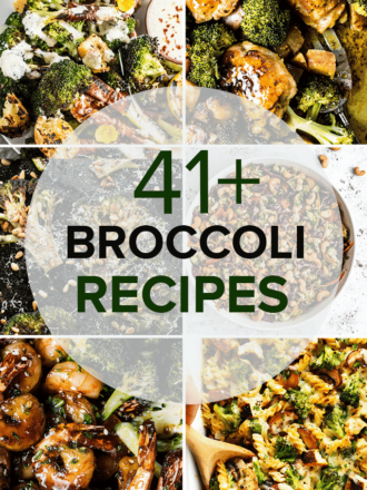 Six photos of recipes featuring broccoli in a grid with a circle on top and the words 41+ broccoli recipes