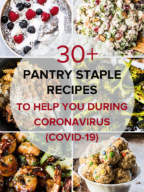 A photo grid of six photos of recipes to make during Coronavirus (COVID-19) quarantine, with a white circle and words on top